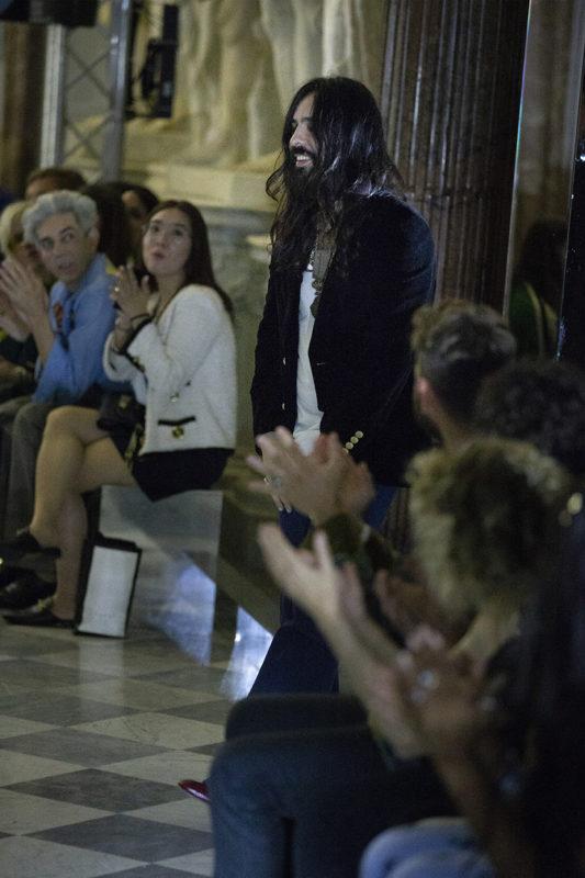 Alessandro Michele during Gucci Cruise 2020 fashion show, Courtesy of Gucci