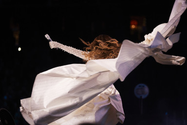 Beyonce wearing Burberry for her `On the Run II' tour performance at the NRG Stadium in Houston. Photo by Andrew White