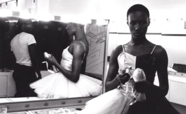 """Ming Smith, Untitled (Grace Jones Ballerina) (1975). Gelatin silver print 16 × 20 in """"Courtesy of the Artist, and Jenkins Johnson Gallery, San Francisco and New York."""""""
