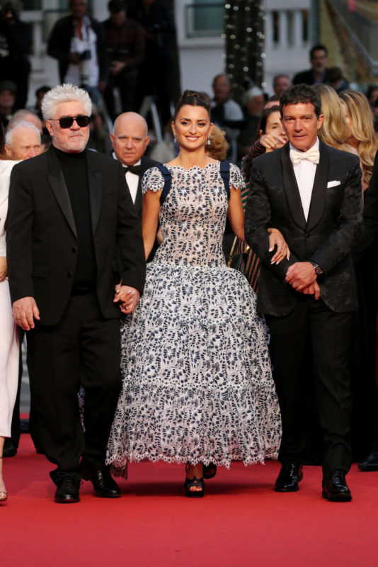 """Director Pedro Almodovar, Penelope Cruz, Antonio Banderas attend the screening of """"Pain And Glory (Dolor Y Gloria/Douleur Et Gloire)"""" during the 72nd annual Cannes Film Festival on May 17, 2019 in Cannes, France. (Photo by Gisela Schober/Getty Images), Courtesy of Chanel"""