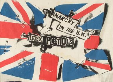Jamie Reid, Anarchy in the UK, 1976. Muslin flag punk