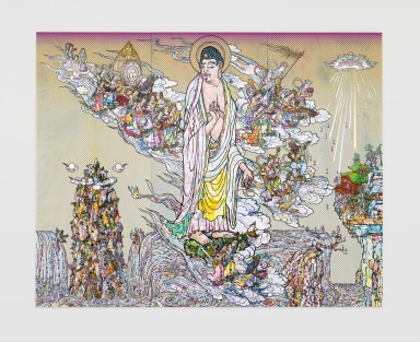 """Takashi MURAKAMI """"Amitābha Buddha descends, Looking over his shoulder"""" 2015 Acrylic, Gold leaf and Platinum leaf on canvas mounted on board / Acrylique, feuille d'or et feuille de platine sur toile montée sur panneaux de bois 118 1/8 x 148 13/16 inches / 300 x 378 cm © 2015 Takashi Murakami/Kaikai Kiki Co., Ltd. All Rights Reserved. Courtesy Galerie Perrotin"""