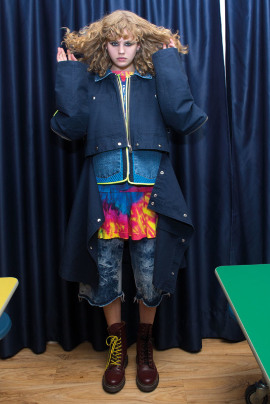 DANCING IN THE EYE OF THE HURRICANE ph. Lorenzo Marcucci for Collectible DRY Anna Liisa wears cotton coat with neoprene mesh detail, Diesel, printed cotton dress, Moschino, denim shorts, Cristiano Burani, boots, Dr Martens.