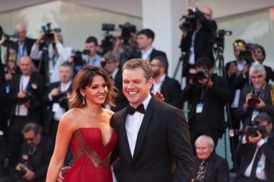 Luciana Barroso, Matt Damon, in Versace e Atelier Versace, © daniela katia lefosse photography. mostra del cinema di venezia 2017 red carpet