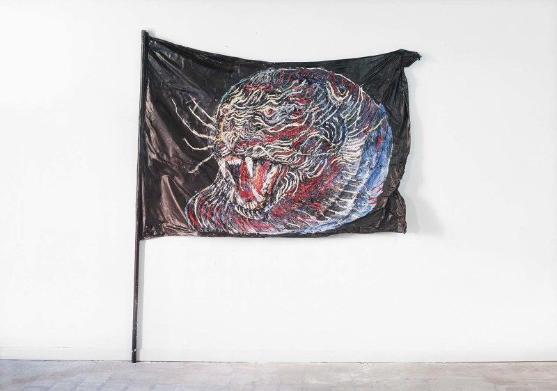 Cristiano Carotti -Panther flag - Oil and paint on treated cotton canvas - 125x180cm, asta h200cm-2016, Where Are The Ultras? In Venice (dove sono gli ultras)