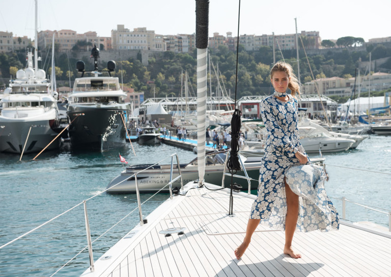 In Fendi dress on the Nautor's Swan 95s, MYS '17. collectible DRY. ph. Ann Casarin