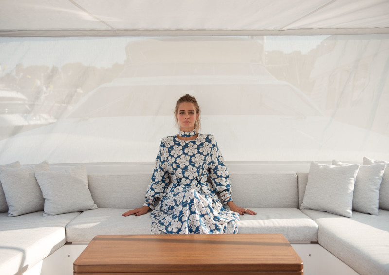 In Fendi dress on the Azimut Grande 30. MYS '17. collectible DRY. ph. Ann Casarin