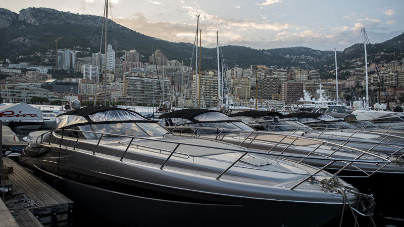 Monaco from the port with docked Rivas, MYS '17. Collectible DRY. Ph. Anna Casarin