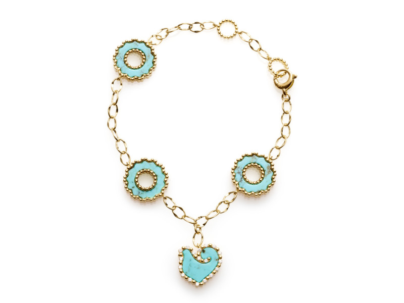 bracelet, capri, chantecler, coral, jewelry, hand made, made in Italy, heritage, gold, charm, pendant, sapphires, coral, diamonds, turquoise, precious, gems