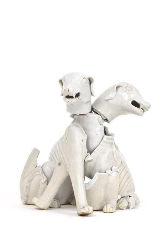 Bouke de Vries, Orthus, 2017, 18th century Chinese blanc-de-chine dogs