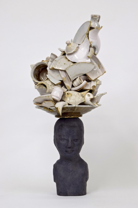 Bouke de Vries, Bust with white delft, 2017, Bronze bust and white delft still life