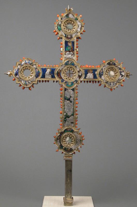 Reliquary cross, Italian, 14th–century, enamel, silver-gilt, coral, glass, rock-crystal, gold leaf