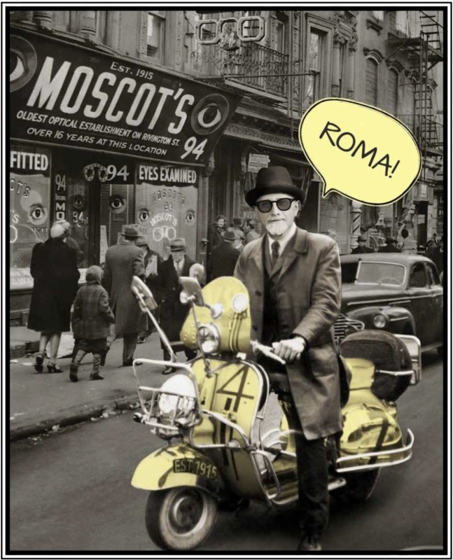Hyman Moscot on a vespa Rome