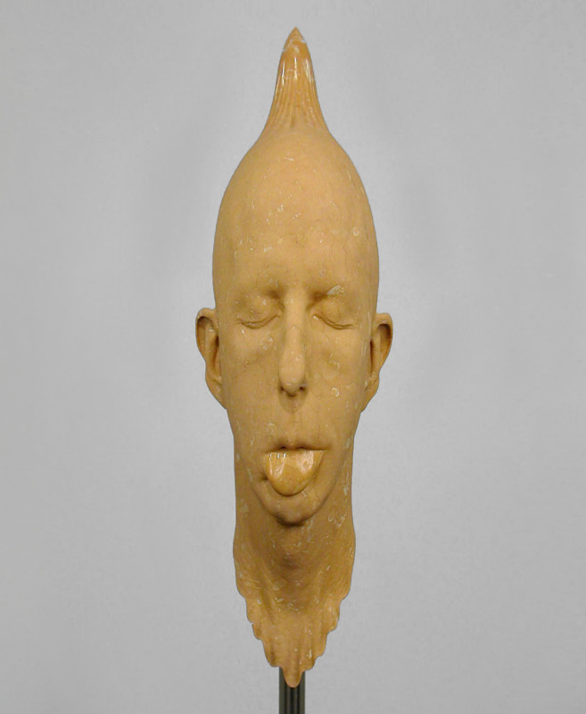 013. Barry X Ball, 2000-02, Portuguese gold marble, stailess steel, ABS plastic