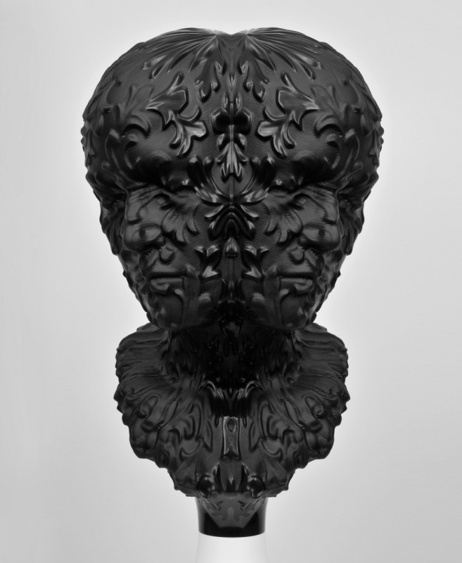 3a. Barry X Ball, 2007-10, Belgian black marble, aluminum, stainless steel, wood, acrylic lacquer, steel, nylon, plastic