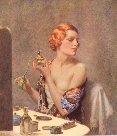 1930's lady with perfume atomiser illustration