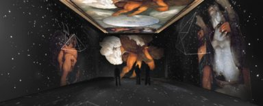 """Render """"Giove, Nettuno e Plutone"""", Caravaggio, Gabinetto alchemico Casino Aurora, Palazzo della Permanente, Milan"""