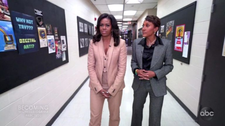Michelle Obama wearing Burberry on ABC News