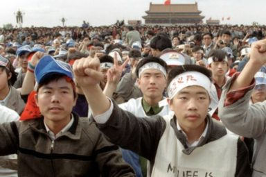 Students during demonstrations at Tiananmen Square on May 18, 1989, before beginning a hunger strike. CATHERINE HENRIETTE, AFP, GETTY IMAGES