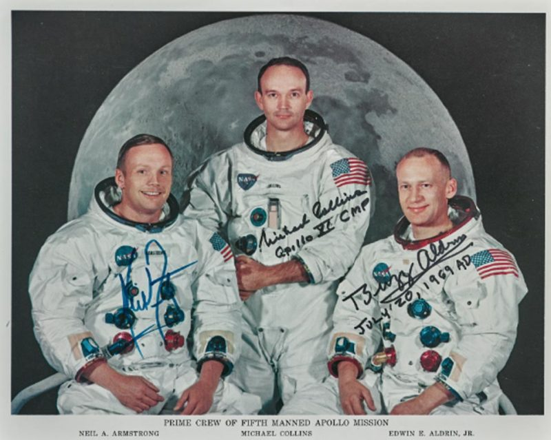 [APOLLO 11]. CREW SIGNED WHITE SPACESUIT LITHOGRAPH, Courtesy of Sotheby's