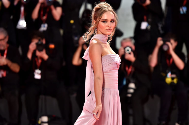 """VENICE, ITALY - SEPTEMBER 02: Lily-Rose Depp attends """"The King"""" red carpet during the 76th Venice Film Festival at Sala Grande on September 02, 2019 in Venice, Italy. (Photo by Theo Wargo/Getty Images)"""