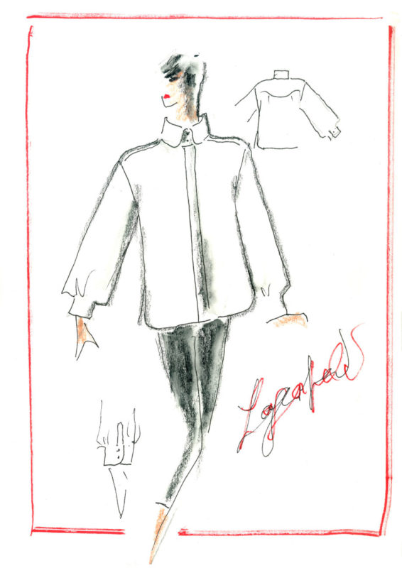 Karl Lagerfeld's white shirt sketch, Courtesy of KARL LAGERFELD