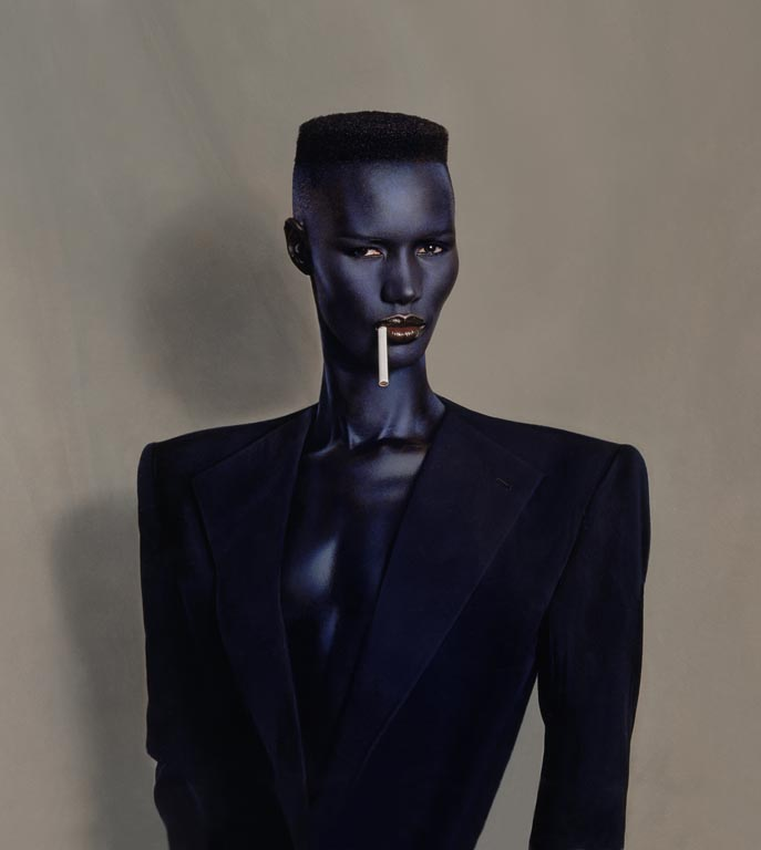 Jean-Paul Goude, Blue-black in black on brown, Painted photo, New York, 1981, Courtesy of Chanel