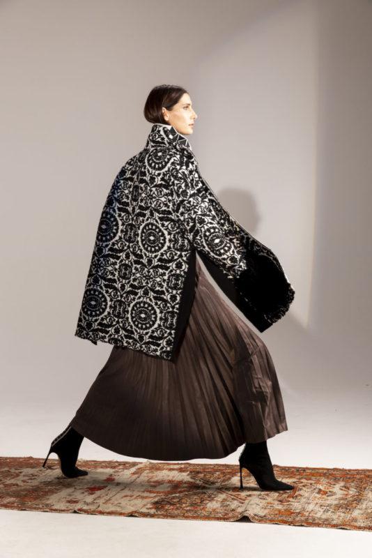 Knitted puffer coat with fur effect knitting details on pockets , PierAntonio Gaspari FW 19/20 Collection, Courtesy of PierAntonioGaspari