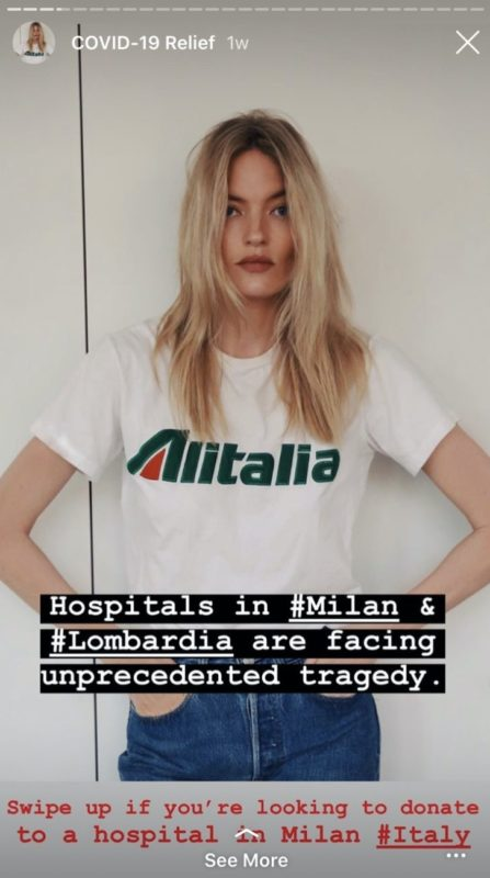Covid-19 Social Front_celebrities and fashion brands against corona virus_solidarity_authenticity_support_social media_donations_challenge_Martha Hunt