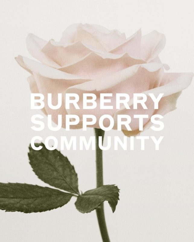 Covid-19 Social Front_celebrities_fashion brands against corona virus_Burberry_mask production_vaccine development_food charity