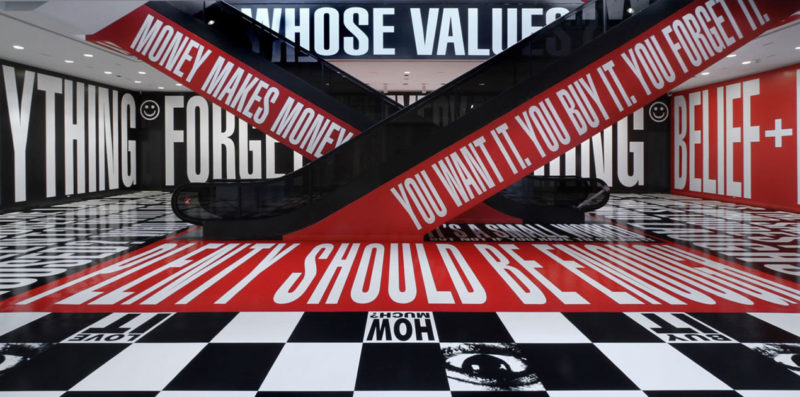 Shrieking Places_Installation view of Barbara Kruger Belief Doubt in the Hirshhorn's Lower Level Lobby