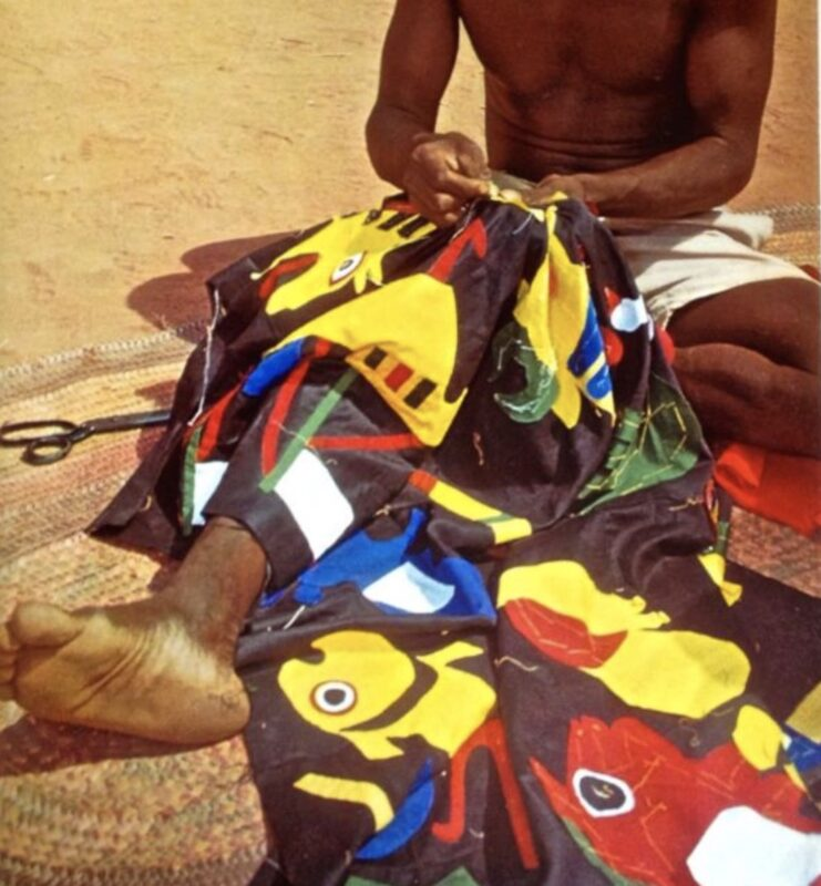 Quilting Bee 2.0_Photo René Gardi 1969_African Crafts and Craftsmen. Patterns are stitched into place before attaching with a blind stitch