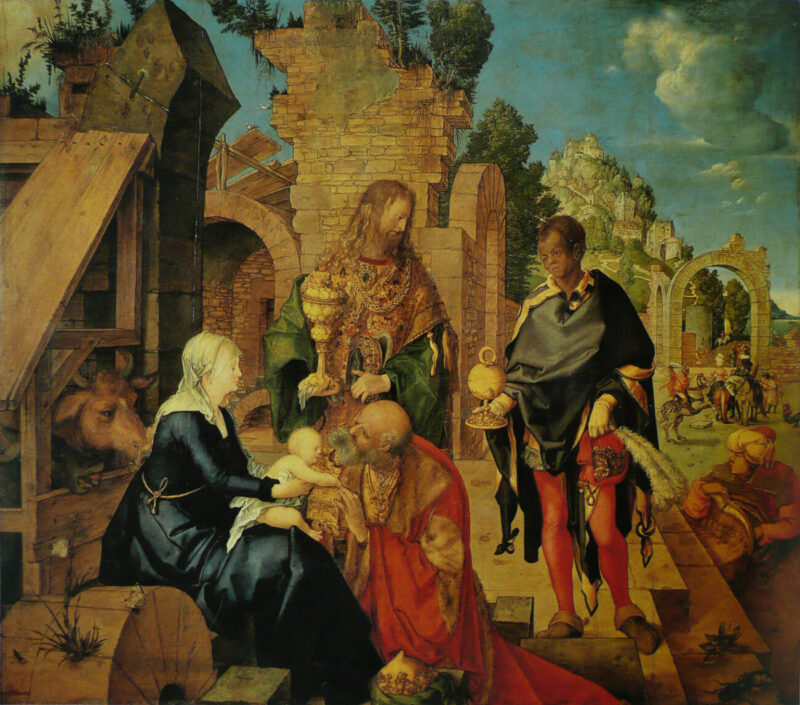 "Blacks Matter in Art Too_Uffizi Gallery_Black Presence_live project_Tik Tok_Facebook_exhibition_performance_""Adoration of the Magi"" by Albrecht Dürer"