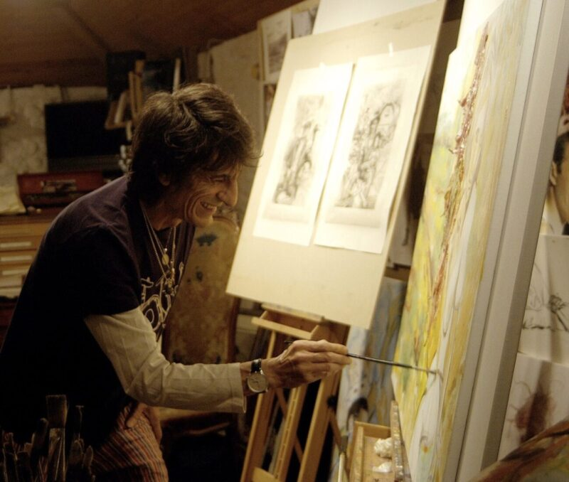 Wood(Land)_Ronnie Wood x Ashridge House_exhibition_Rolling Stones guitarist_artworks_country estate_North London_England_Ronnie Wood in the studio