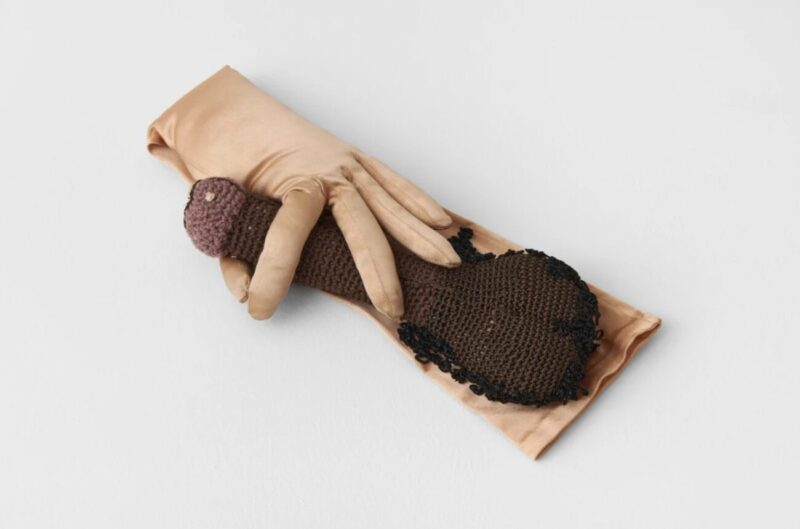 Crochet Art and Face Masks_Su Richardson_Richard Saltoun_Wonderwoman_Friends Gloves I, 1979
