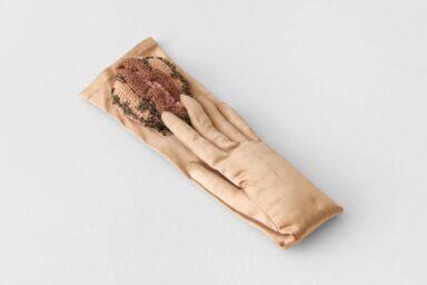 Crochet Art and Face Masks_Su Richardson_Richard Saltoun_Wonderwoman_Friends Gloves II, 1979
