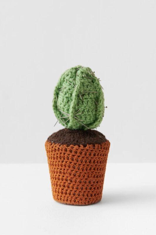 Crochet Art and Face Masks_Su Richardson_Richard Saltoun_Wonderwoman_Potted Thoughts, Crisseteus Prikum- Pin Cushion Plant, 1976