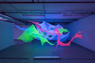 Directed Tensions_Nei Alberti_site specific installation_thread_colors_led lights_Copernico Centrale Milano