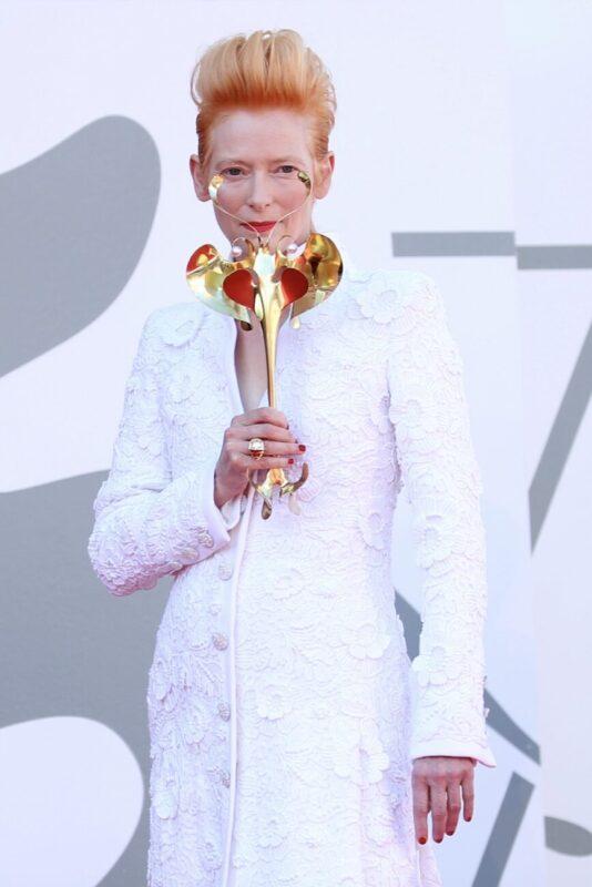 Tilda and Stacy_Venice Film Festival 2020_77 edition_premieres_Tilda Swinton_actress_Leone d'Oro prize_winner_Chanel dress