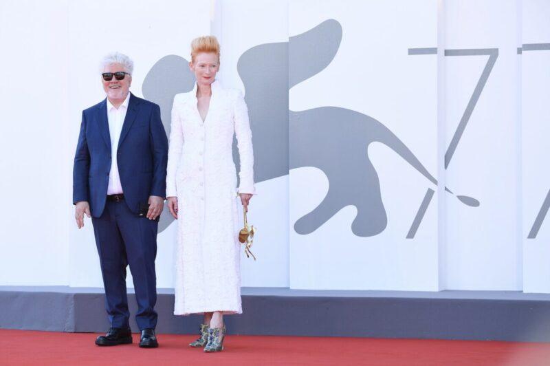 Tilda and Stacy_Venice Film Festival 2020_77 edition_premieres_Tilda Swinton_actress_Leone d'Oro prize_winner_Chanel dress_Pedro Almodovar_La Vox Humaine