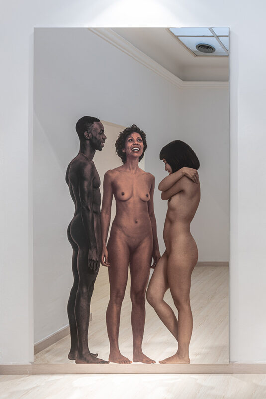 A Funeral Full of Life_Galleria Continua_30 anniversary_solo exhibitions_Michelangelo Pistoletto, Messa a nudo - I 2020, silkscreen on super mirror stainless steel, 250 x 150 cm, 98,42 x 59,05 in. Photo Ela Bialkowska, OKNO Studio