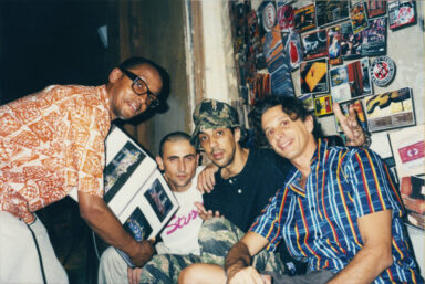 """MODE2, LUCA BENINI, FUTURA 2000 AND ALBERTO SCABBIA IN MODENA DURING """"DEFUMO"""" EVENT, A DEDICATED PERFORMANCE WITH STREET ARTISTS SUCH AS DELTA, FUTURA 2000, WHO ACTED UPON THE WALLS AGAINST THEIR PLANNED DEMOLITION. EVENT WAS SUPPORTED BY SLAM JAM, MODENA (IT), 2001."""