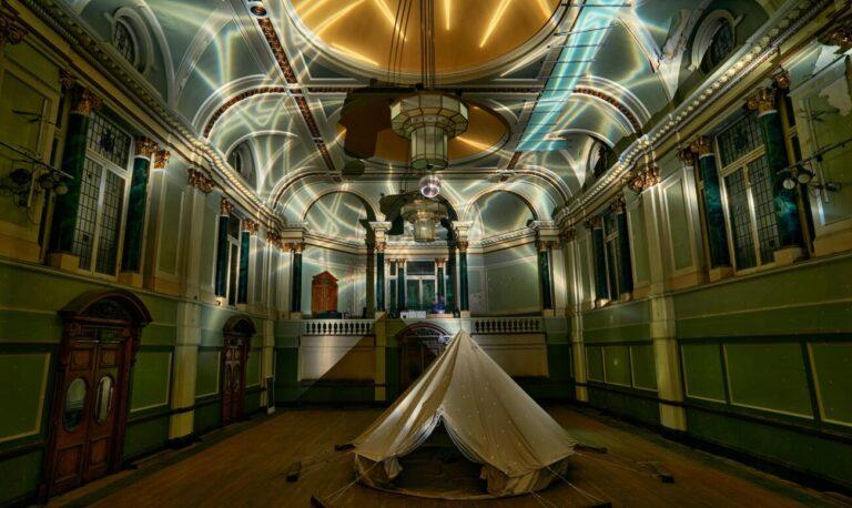 Hugo Dalton, Crown of Thorns, 2020, light projection, photo Tom Mannion Landscape
