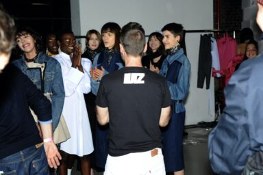 Lutz Huelle thanking the models after the show Courtesy of Lutz Huelle