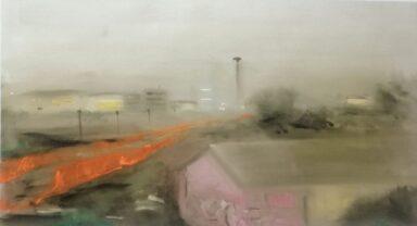 GIAN MARCO CAPRARO La Fondazione Prada vista da Corso Lodi 94X50 – olio su tela