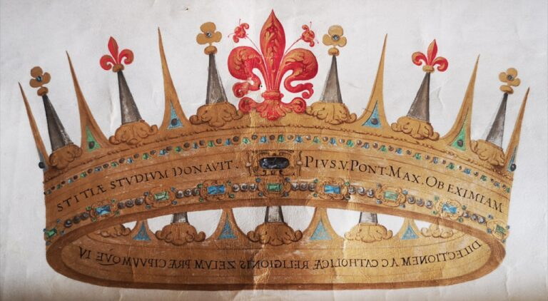 The Grand Ducal Crown, found in the Papal Bull of Pius V dated 24 August 1569, kept in the State Archives of Florence